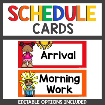 Class Schedule Cards in Primary Colors