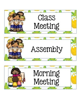 Class Schedule Cards with Bright Sunny Pineapple Theme