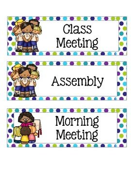 Class Schedule Cards with Lime Green, Teal, and Purple Peacock Theme