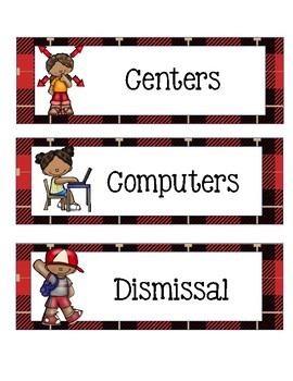 Class Schedule Cards with Lumberjack or Camping Theme