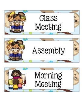 Class Schedule Cards with Sloth Theme