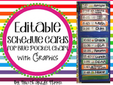 Schedule Cards with Times and Graphics for Pocket Chart -EDITABLE-