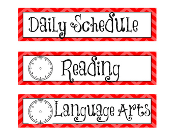 Class Schedule - Chevron/Red/Analog Clock