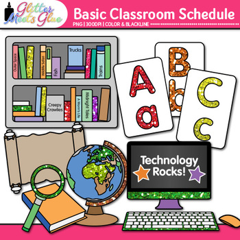 Class Schedule Clip Art {Back to School Supplies Graphics Basic Pack}