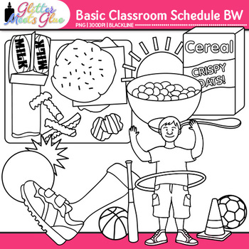Class Schedule Clip Art {Back to School Supplies Graphics Basic Pack} B&W