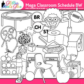 Class Schedule Clip Art {Back to School Supplies Graphics Mega Pack} B&W