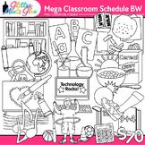Class Schedule Clip Art: School Supply Graphics B&W {Glitter Meets Glue}