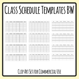 Class Schedule / Day Planner Templates Monday to Friday Blank Clip Art Set