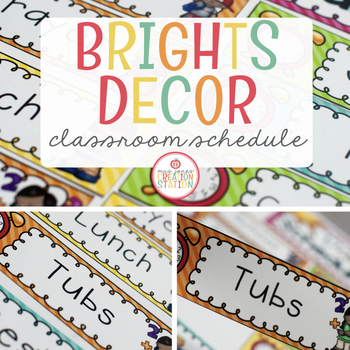 Editable Daily Schedule Cards {Brights Classroom Set}