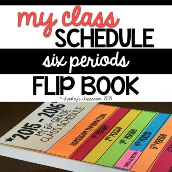Class Schedule Flip Book   6 Periods