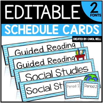 Editable Class Schedule Cards (Serenity Series)