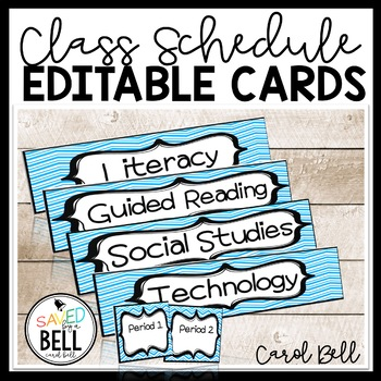 Editable Class Schedule Indicator Cards
