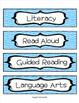 Class Schedule Indicator Cards: Bright Curvy Lines Design