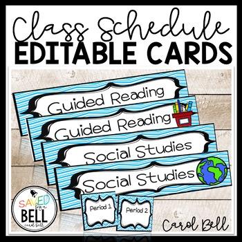 Class Schedule Cards Curvy Design