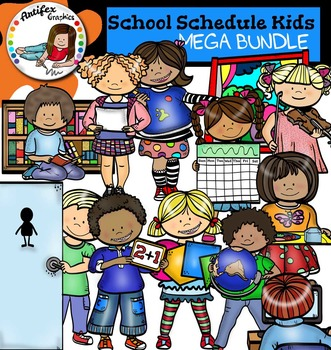 Class Schedule Kids Clip Art - Big set of 70 graphics!