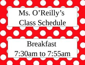 Class Schedule - Red & White Polka Dot Theme {Editable}