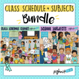 Class Schedule and School Subjects Clipart Bundle