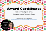 Class / School Certificates of Appreciation!