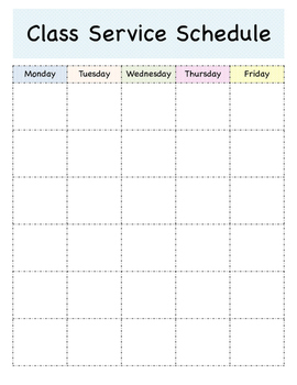 Class Service Schedule