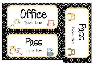 Class Set- Name Tags, Class Passes, Birthday Recorder (Editable) OWL THEME
