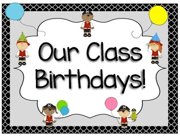 Class Set- Name Tags, Class Passes, Birthday Recorder (Editable) PIRATE THEME