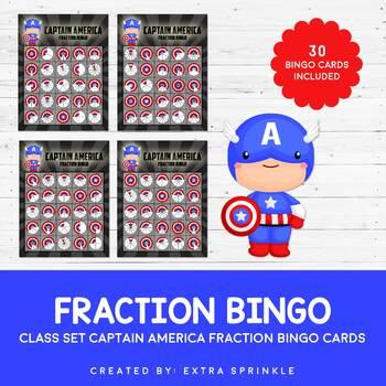 Class Set of Captain America Inspired Fraction Bingo Cards