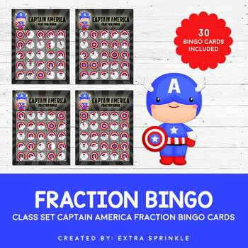 Class Set of Captain America Inspired Fraction Bingo Cards