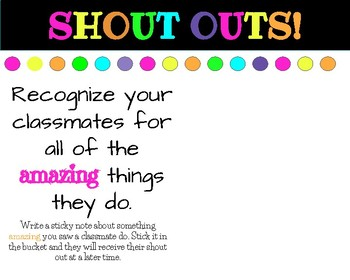 Class Shout Outs...help create a positive classroom culture