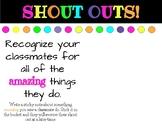 Class Shout Outs...help create a positive classroom culture