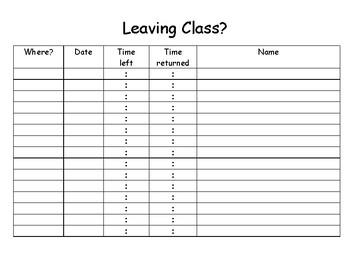 class sign out sheet teaching resources teachers pay teachers