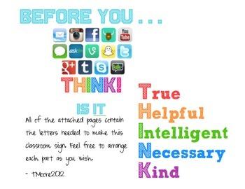 Class Sign: THINK: Anti-bullying