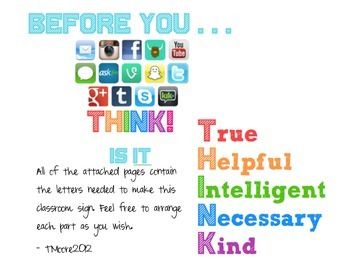 Class Sign: THINK: Anti-bullying