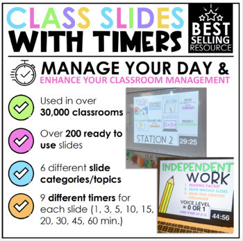 Distance Learning Class Slides with Timers   Classroom Management