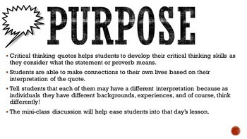 Class Starters: Critical Thinking Quotes for the Beginning of Class!