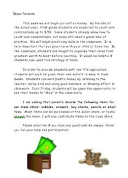 Class Store Parent Donation Letter