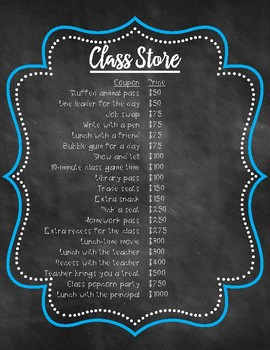 Class Store with Coupons {Chalkboard Theme}