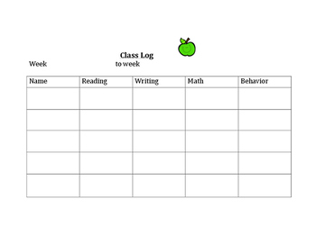 Class Subjects and Behavior Log