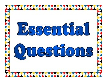 Class Subjects and Essential Questions for boards