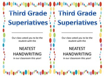 Class Superlatives - Third Grade