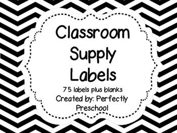 Class Supply Labels {Black and White Chevron}