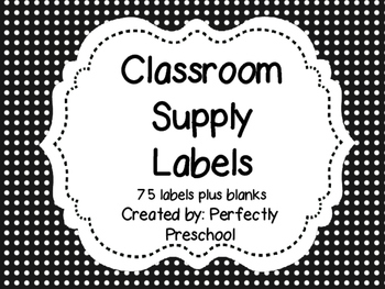Class Supply Labels {Black and White Polka Dots}