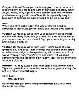 Class Tiger Mascot Journal