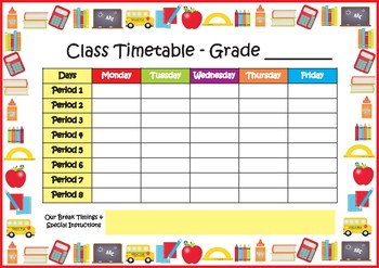 class timetable school timetable freebie by my