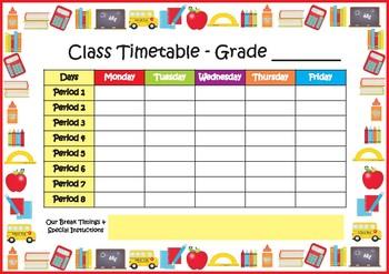 Class Timetable  - School Timetable - Freebie