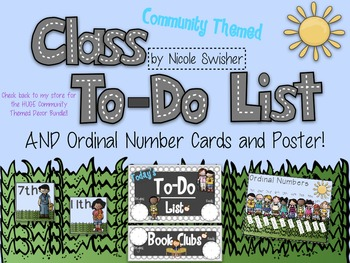 Class To-Do List (Daily Schedule) with Ordinal Number Cards