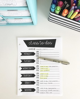 Class To-Do List for College Students (EDITABLE)