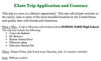 Class Trip Application & Contract (WORD DOC)
