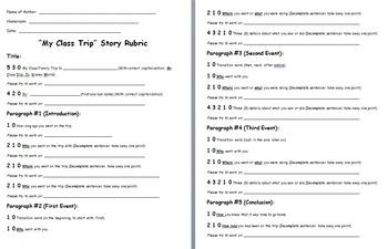 Class Trip Essay Teacher Assessment Rubric