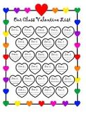 Class Valentine Heart List