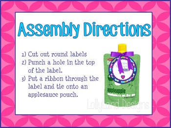 "Class Valentine Labels- ""Main Squeeze"" Applesauce Packets"